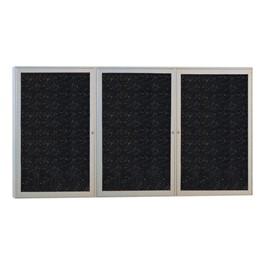 Enclosed Rubber-Tak Tackboard w/ Three Doors & Satin Aluminum Frame