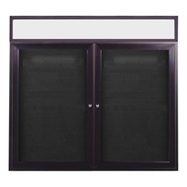 Letter Board w/ Lighted Header, Two Doors & Dark Bronze Aluminum Frame