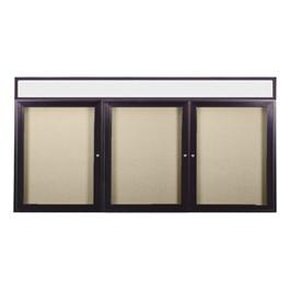 Enclosed Bulletin Board w/ Header, Three Doors & Dark Bronze Aluminum Frame