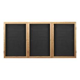 Indoor Enclosed Letter Board w/ Three Doors & Oak Finish Frame