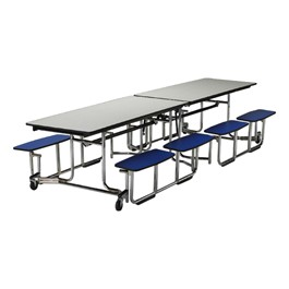 """UUniframe Mobile Cafeteria Split-Bench Table w/ Chrome Frame & Perfect Edge (59\"""" W x 139 1/2\"""" L)"""