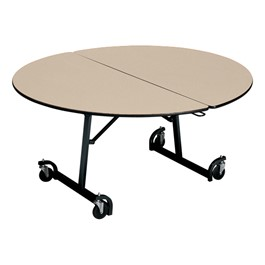 Uniframe Round Mobile Cafeteria Table - Black Frame & Bull Nose Edge