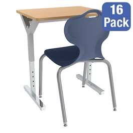 Adjustable-Height Y-Frame Desk and 18-Inch Profile Serries School Chair Set - 16 Desks/Chairs