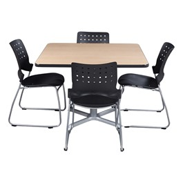 Square Pedestal Café Table and Ballard Stack Café Chair Set