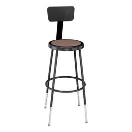 "6200-10 Black Stool w/ Backrest - Adjustable Height (25\"" - 33\"" H)"