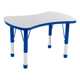 Bow Tie Adjustable-Height Preschool Collaborative Table - Gray w/ Blue Edge