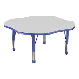 Clover Adjustable-Height Preschool Activity Table - Gray w/ Blue Edge