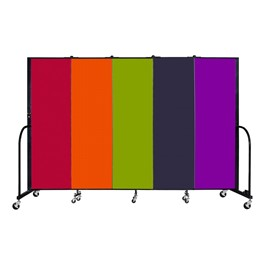 6\' H Five Panel Rainbow Freestanding Portable Partition
