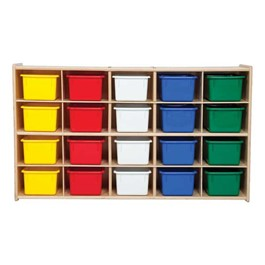 20-Tray Wooden Storage Unit - Unassembled & w/ Colorful Trays